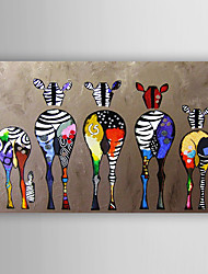 cheap -Oil Painting Handmade Hand Painted Wall Art Home Decoration Décor Living Room Bedroom Animal Colorful Zebra Stretched Ready To Hang With Stretched Frame or Rolled Without Frame