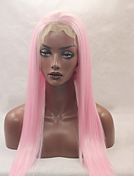cheap -fashion long straight synthetic lace front wig glueless pink color for afro women wigs