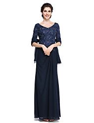cheap -Sheath / Column Mother of the Bride Dress Elegant V Neck Ankle Length Chiffon Lace Half Sleeve with Lace 2021