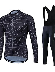 cheap -Fastcute Men's Long Sleeve Cycling Jersey with Bib Tights Winter Fleece Silicon Lycra Plus Size Bike Clothing Suit Thermal / Warm Fleece Lining Breathable 3D Pad Quick Dry Sports Sports Mountain Bike