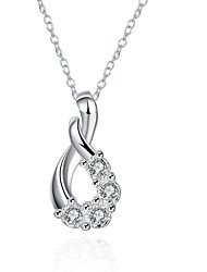 cheap -Women's Crystal Pendant Necklace Ladies European Fashion Sterling Silver Zircon Cubic Zirconia White Necklace Jewelry For Party Daily Casual / Silver Plated / Silver Plated