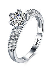 cheap -Women's Band Ring Cubic Zirconia Silver Sterling Silver Zircon Cubic Zirconia Personalized Vintage Fashion Wedding Party Jewelry / 18K Gold / Hypoallergenic