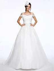 cheap -Ball Gown Wedding Dresses Off Shoulder Court Train Organza Beaded Lace Short Sleeve with Beading Appliques 2020