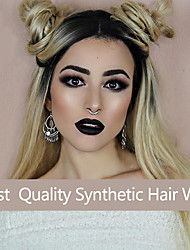 cheap -natural hairline wavy ombre black to blonde two tone lace synthetic wig women wave hair wigs