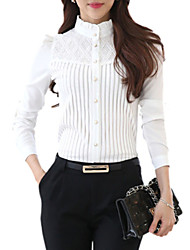 cheap -Women's Daily Weekend Plus Size Shirt - Solid Colored Lace Stand White / Spring / Fine Stripe