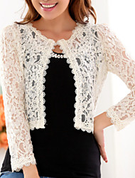 cheap -Women's Daily Plus Size Wrap - Solid Colored Lace Crew Neck Black / Bodycon / Fall