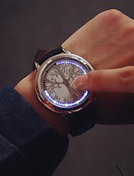 Недорогие -Муж. Наручные часы электронные часы Цифровой Кожа Черный Цифровой Кулоны - Черный Серебряный Один год Срок службы батареи / SSUO 377