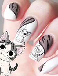 cheap -water transfer printing cartoon kitten pattern nail stickers
