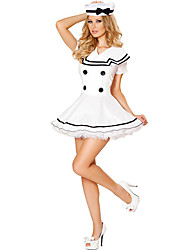 cheap -Sailor Cosplay Costume Party Costume Women's Naval Uniforms Halloween Oktoberfest Festival / Holiday Terylene White Carnival Costumes Solid Colored