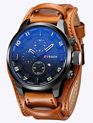 cheap -CURREN Men's Sport Watch Military Watch Analog Quartz Luxury Calendar / date / day Day Date / Two Years / Stainless Steel / Leather
