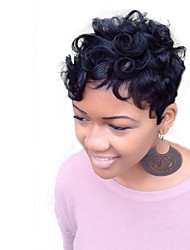 cheap -Human Hair Wig Short Straight Wavy kinky Straight Pixie Cut Layered Haircut Short Hairstyles 2019 Berry kinky straight Natural Wave African American Wig For Black Women Capless Women's Black#1B