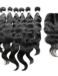 cheap -Indian Hair Natural Wave Human Hair Hair Weft with Closure Human Hair Weaves Human Hair Extensions