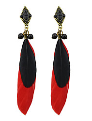 cheap -Women's Drop Earrings Hoop Earrings Bohemian Fashion Native American Feather Earrings Jewelry Red For Party Daily Casual