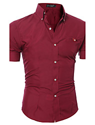 cheap -Men's Daily Weekend Slim Shirt - Solid Colored Basic Button Down Collar Pink / Short Sleeve / Summer