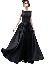 cheap -A-Line Scoop Neck Floor Length Satin Formal Evening Dress with Beading / Bow(s) by LAN TING Express