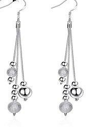 cheap -Women's Drop Earrings Beads Ladies Tassel European Fashion Sterling Silver Silver Plated Earrings Jewelry White For Daily Casual
