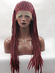 Недорогие -Парики из искусственных волос Прямой Прямой силуэт Глубокое разделение Лента спереди Парик Длинные Красный Искусственные волосы Жен. Природные волосы Парик с косичками Африканские косички Красный
