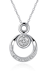 cheap -Women's Pendant Necklace European Fashion Synthetic Gemstones Sterling Silver Silver Plated White Necklace Jewelry For Party Daily Casual