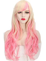cheap -highlight fashion pink blonde gradient wave trendy cosplay wigs charming style Halloween