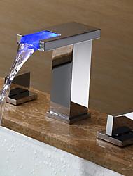 cheap -Contemporary Art Deco/Retro Modern Widespread Widespread LED Ceramic Valve Two Handles Three Holes Chrome, Bathroom Sink Faucet