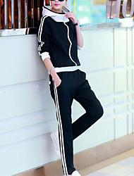abordables -Femme Couleur Pleine Mignon Activewear Set Normal, Manches Longues Coton Toutes les Saisons