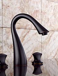 cheap -Bathroom Sink Faucet - Pre Rinse / Widespread Antique Copper Widespread Two Handles Three HolesBath Taps