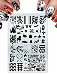 cheap -Stainless Steel Stamping For Cats Halloween Skull Butterfly Flower Nail Stamping Plates Nail Art