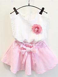 cheap -Toddler Girls' Stripes Daily Striped Sleeveless Regular Cotton Clothing Set Pink