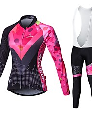 cheap -Malciklo Women's Long Sleeve Cycling Jersey with Bib Tights White Black British Plus Size Bike Jersey Bib Tights Clothing Suit Breathable 3D Pad Quick Dry Back Pocket Winter Sports Velvet Lycra