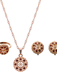 cheap -Women's Jewelry Set Pendant Necklace Ladies Luxury Fashion Rhinestone Rose Gold Plated Imitation Diamond Earrings Jewelry Red / Pink For Wedding Party / Rings