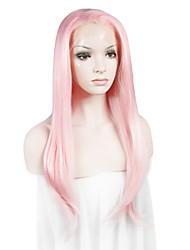 cheap -Synthetic Lace Front Wig Straight Straight Lace Front Wig Pink Pink Synthetic Hair Women's Pink
