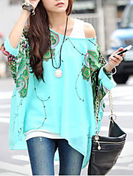cheap -Women's Daily Weekend Boho Batwing Sleeve Oversized Blouse - Animal Butterfly, Print Green / Summer / Sexy