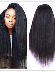 Недорогие -Необработанные натуральные волосы Бесклеевая кружевная лента Парик Kardashian стиль Бразильские волосы Естественные прямые Яки Природа Черный Парик 130% Плотность волос / Природные волосы
