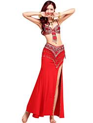 cheap -Belly Dance Outfits Women's Performance Spandex / Crystal Cotton / Chinlon Tassel / Paillette Sleeveless Skirt / Bra / Belt