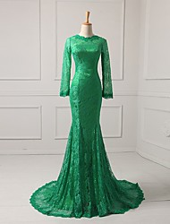 cheap -Mermaid / Trumpet Mother of the Bride Dress Elegant Jewel Neck Sweep / Brush Train Lace Half Sleeve with Lace 2020