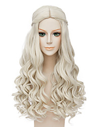 cheap -Synthetic Wig Cosplay Wig Wavy Wavy Wig Blonde Long Blonde Synthetic Hair Women's Middle Part African American Wig Braided Wig Blonde