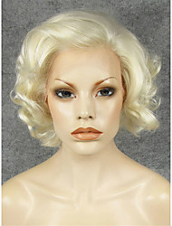 cheap -Synthetic Lace Front Wig Curly Curly Lace Front Wig Blonde Short Blonde Synthetic Hair Women's Natural Hairline Side Part Blonde