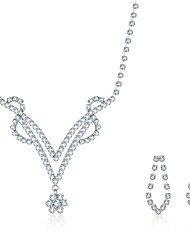 cheap -Women's Cubic Zirconia Jewelry Set Necklace / Earrings Bridal Jewelry Sets Personalized Tassel Vintage Party Casual Fashion Pearl Sterling Silver Zircon Earrings Jewelry Silver For Wedding Party