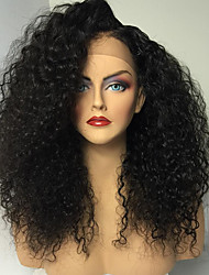 cheap -Human Hair Glueless Full Lace Full Lace Wig style Kinky Curly Wig Natural Hairline African American Wig 100% Hand Tied Women's Medium Length Long Human Hair Lace Wig