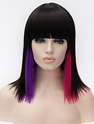 cheap -cosplay wigs black gradient neat bang bobo wig 14 inch Halloween