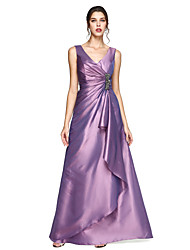cheap -A-Line V Neck Floor Length Taffeta Elegant Formal Evening Dress with Crystal Brooch / Pleats 2020