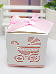 cheap -Cubic Card Paper Favor Holder with Ribbons Favor Boxes Cookie Bags Gift Boxes Candy Jars and Bottles - 12