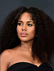cheap -Human Hair Glueless Lace Front Lace Front Wig style Brazilian Hair Kinky Curly Wig with Baby Hair Natural Hairline African American Wig 100% Hand Tied Women's Short Medium Length Long Human Hair Lace