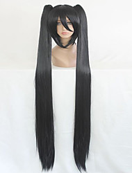 cheap -vocaloid high quality synthetic 130cm long braided straight black cosplay wig Halloween