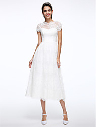 cheap -A-Line Wedding Dresses Jewel Neck Tea Length Lace Short Sleeve Simple Casual Illusion Detail Backless with Appliques 2020