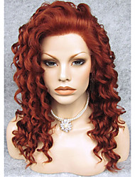 cheap -Synthetic Wig Curly Curly Lace Front Wig Auburn Synthetic Hair Red