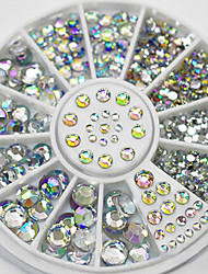 cheap -mixed sizes white crystal nail art rhinestones acrylic ab jewelry shining manicure design