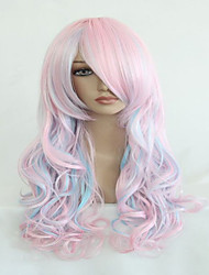 cheap -high quality blue mix pink 70cm long wavy halloween synthetic cosplay lolita wig Halloween
