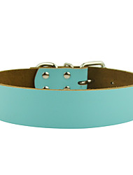 cheap -Dog Collar Adjustable / Retractable Solid Colored Genuine Leather Red Blue Pink