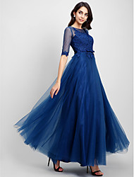 cheap -A-Line Illusion Neck Floor Length Lace / Tulle Elegant / Keyhole Cocktail Party / Prom / Formal Evening Dress with Lace 2020
